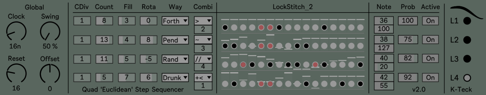 LockStitch 2: Quad 'Euclidean' Sequencer