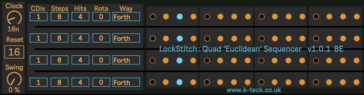 LockStitch: Quad 'Euclidean' Sequencer